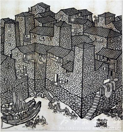 《渔村情韵》  施徐华  60×65  版画