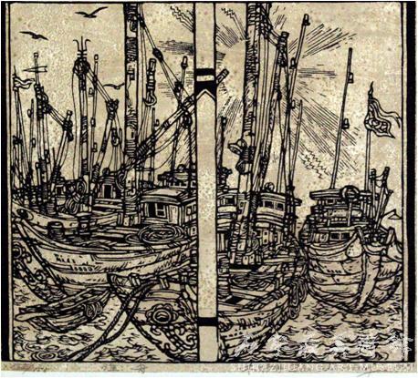 《渔舟》  朱维明  49×42.5  版画