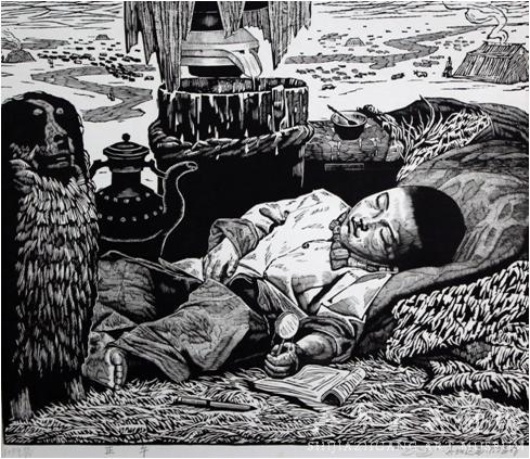 《正午》  其加达瓦  53×60  版画