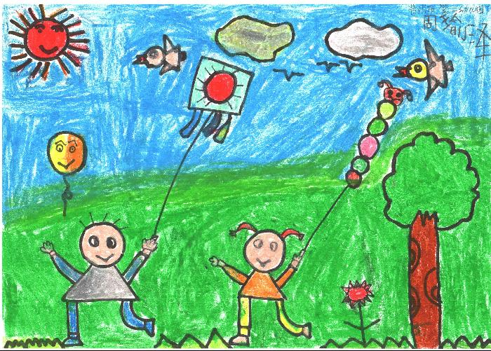 简笔画放风筝的人图片