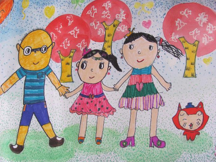 可爱的家人绘画
