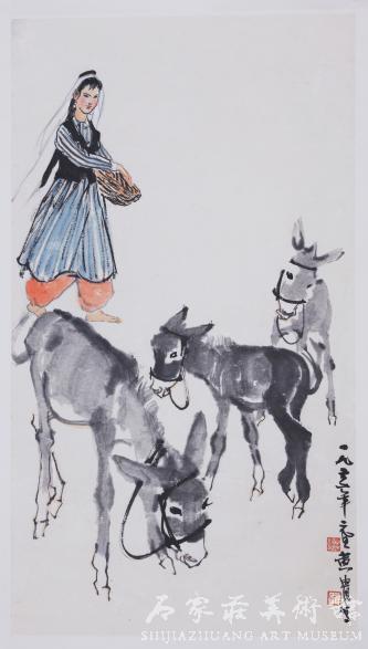 《饲驴图》 黄胄 国画