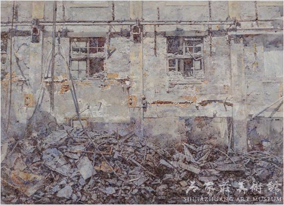 《往日时光——拆迁中的旧工厂》  王树海  80×106  水粉