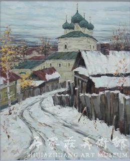 《通往教堂的路》  刘晓  64×52  油画