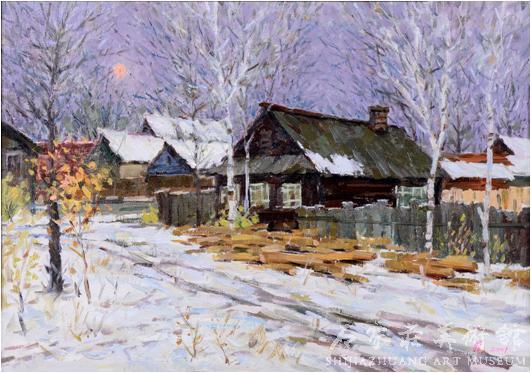 《紫色的冬天》  刘晓  49×68.5  油画